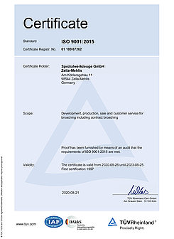 Certificate ISO 9001:2015 / 2020-2023